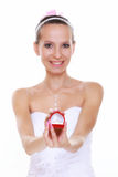 Girl with surprise looks at box with wedding ring, isolated Royalty Free Stock Images