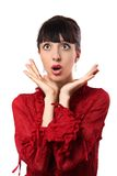 Girl is surprised. On a white background Royalty Free Stock Images