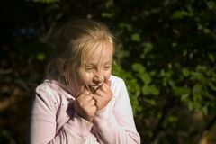 Girl Surprised in the Evening Royalty Free Stock Photo