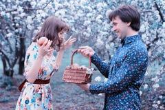 Girl surprised gift of fruit Royalty Free Stock Image
