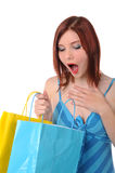 Girl Surprised by Gifts Royalty Free Stock Photo