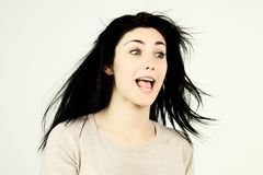 Girl surprised having funny reaction Stock Photo