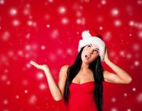 Girl surprised with snow Royalty Free Stock Images