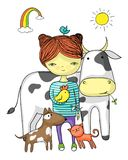 Girl surrounded by her animal friends Royalty Free Stock Image