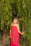 Girl surrounded by willow branches. Girl in the shade of weeping willows royalty free stock image
