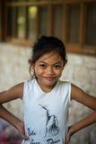 Girl survivor of earthquake smiles Royalty Free Stock Photos