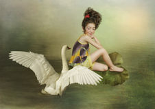 The girl and the Swan Stock Image
