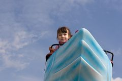 Girl on Swan Ride stock photography