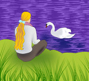 Girl and Swan Royalty Free Stock Image