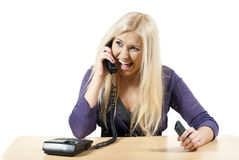 Girl swearing by phone Royalty Free Stock Image