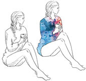 Girl in a sweater . Fashion illustration. Stock Image