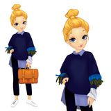 Girl In Sweater With Feathers. Girl dressed in a sweater with feathers holds a red briefcase Royalty Free Stock Image