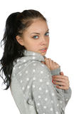 Girl in a sweater isolated on a white Royalty Free Stock Photo