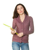 Girl in a sweater and jeans with a folder Stock Photo