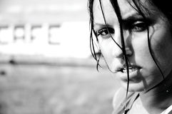 Girl sweating after workout. Girl sweating and looking tough after a good workout Stock Photo