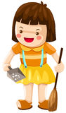 Girl sweeping Royalty Free Stock Image