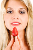 Girl and sweet berry Stock Photo