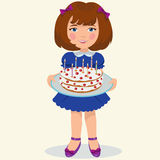 Girl with sweet cake Royalty Free Stock Images