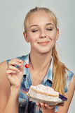 Girl with sweet dessert Stock Images