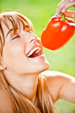 Girl with sweet pepper Stock Photos