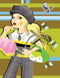 The girl, sweetness and bee's. The digial art illustration of the funny girl with sweetness on the bright background Royalty Free Stock Photos