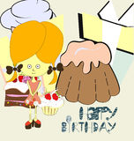 Girl with sweets. Universal template for greeting card, web page, background Stock Photography