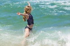 Girl Swim Beach Stock Images