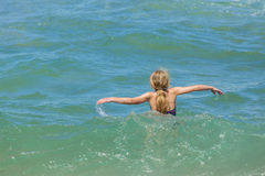 Girl Swim Beach royalty free stock photo