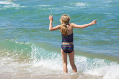 Girl Swim Beach stock photo