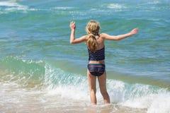 Girl Swim Beach Stock Photo
