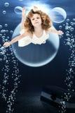 Girl Swiming Ocean royalty free illustration