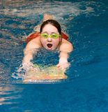 Girl swiming in the swimming pool Royalty Free Stock Image