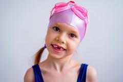 Girl swimmer sportsman. A portrait of a girl swimmer sportsman Royalty Free Stock Image