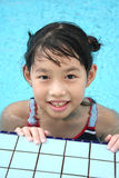 Girl swimming. At pool Royalty Free Stock Images