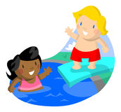 Girl swimming Boy Diving Stock Image