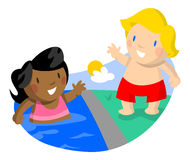 Girl Swimming Boy Watching Royalty Free Stock Photo