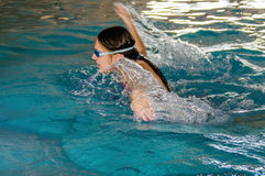 Girl swimming butterfly. Royalty Free Stock Image