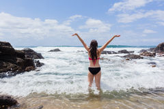 Girl Swimming Celebration Happy Ocean Rock Pool Royalty Free Stock Photos
