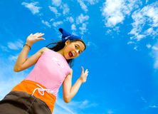 Girl in swimming costume cheerful and happy Royalty Free Stock Photo