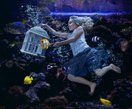 Girl swimming in a fishtank Stock Image