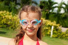 Girl in swimming glasses Royalty Free Stock Photo