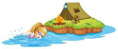 A girl swimming near an island with tent Stock Image