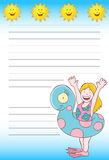Girl Swimming Notepad Royalty Free Stock Photography