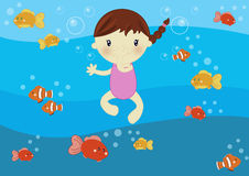 Girl swimming in the ocean. Illustration about a cute little girl swimming in the ocean amongs fishes and bubbles Royalty Free Stock Photo