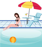 Girl at swimming pool Stock Image