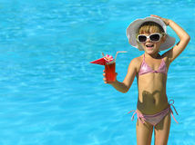 Girl in the swimming pool. Girl near the swimming in hat and sun glasses with cocktail Royalty Free Stock Images