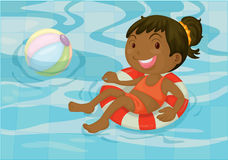 A Girl in a Swimming Pool stock illustration
