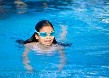 Girl swimming in the pool Royalty Free Stock Images
