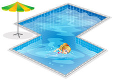 A girl swimming at the pool. Illustration of a girl swimming at the pool on a white background Royalty Free Stock Photo