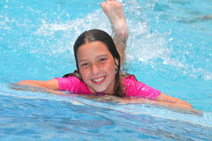 Girl in a swimming pool. Portrait of a girl in a swimming pool stock photos